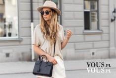 beżowa luźna bluzka, beżowy kapelusz