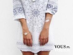luźna sukienka, etniczne wzory , biala sukienka