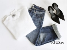 biała prosta bluzka, dżinsy, klasyczny zestaw
