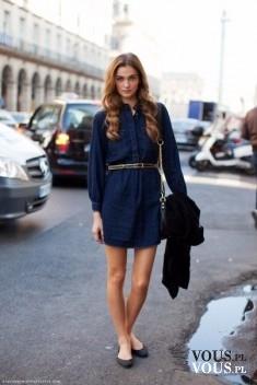Granatowa szmizjerka. Sukienka koszulowa z długim rękawem. Granatowa sukienka.