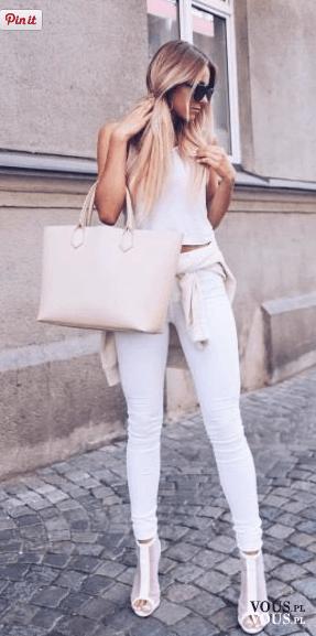 białe spodnie, długie nogi, elegancja