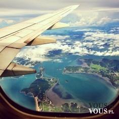 Niesamowity widok z samolotu. Widok z lotu ptaka.