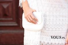 Koronkowa biała mini sukienka – HM, zegarek kremowy, ażurowy – otien