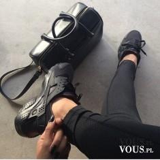 styl, styl sportowy czarny, świetny zestaw, czarna torebka elegancka i sportowe buty