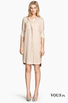 Łososiowa szmizjerka, luźna sukienka koszulowa