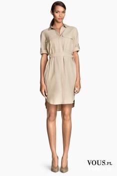 Sukienka H&M, beżowa sukienka koszulowa, szmizjerka
