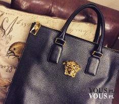 Skórzana torebka, duża czarna torba, torebka do ręki, czarna torba ze złotymi elementami