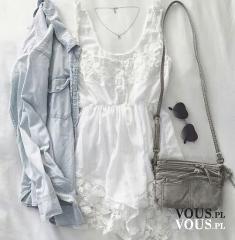 Delikatna biała sukienka z koronkowymi elementami, romantyczna biała sukienka i luźna koszula dż ...