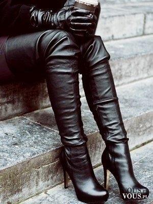 Buty muszkieterki, czarne muszkieterki na obcasie, skórzane buty,