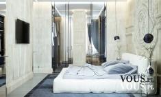 Duża jasna sypialnia, przestronna sypialnia, jak urządzić sypialnię,