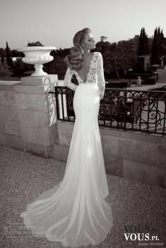 Cudowna suknia ślubna, długa suknia z cienkim trenem, suknia ślubna z koronkową górą