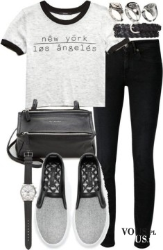 Codzienna stylizacja, czarne spodnie rurki i t-shirt, szare tenisówki i czarne dodatki