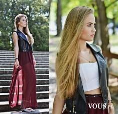 Rockowa stylizacja ze spódnicą maxi, burgundowa długa spódnica i skórzana kamizelka