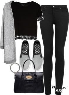 Czarna stylizacja, czarne spodnie i koronkowa bluzeczka, czerń i szarość