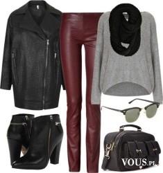 Rockowy styl, skórzane burgundowe spodnie i szary sweter oversize, luźny płaszcz , czarny płaszc ...