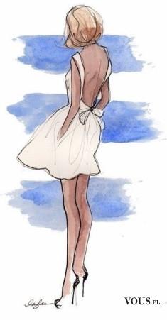 Projekt sukni, biała seksowna sukienka, sukienka z odkrytymi plecami, biała sukienka z kokardą