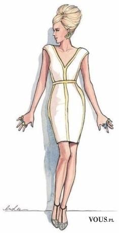 Szykowna biała sukienka, projekt sukienki, prosta biała sukienka bez rękawów,