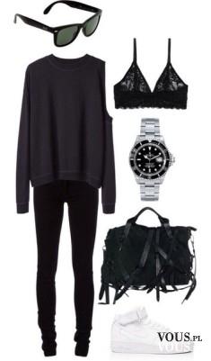 Czarna stylizacja, czarne rurki i sweter oversize, czarne dodatki