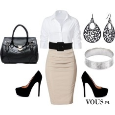 Stylizacja do pracy, beżowa spódnica ołówkowa i biała koszula,