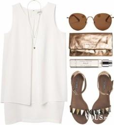 Letnia stylizacja, zwiewna biała sukienka, brązowe dodatki do białej sukienki