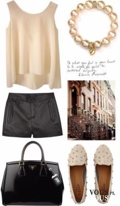 Elegancka stylizacja na lato, czarne szorty i zwiewna szyfonowa bluzeczka