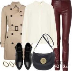 Klasyczny płaszcz prochowiec- idealny na chłodne jesienne dni, biała koszula i burgundowe spodni ...
