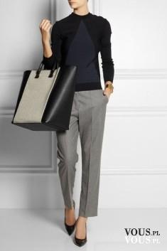 Szyk i elegancja, szare spodnie z kantką i czarny sweterek,, duża torba shopper i czarne szpilki ...