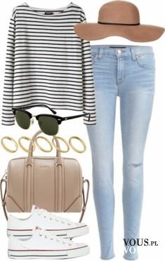 Luz i wygoda, sweter oversize w paski i jasne dżinsy, białe tenisówki i beżowa torba
