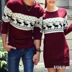 Para ma takie same wzory ubrań, świąteczne ubrania w renifery, sukienka w renifery bordowa