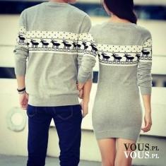 Szary sweter w renifery, szara sukienka w renifery, czy para może się ubierać tak samo? Czy zako ...