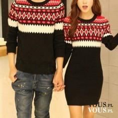 Sukienka czarna w taki sam wzór jak sweter męski. Czarno biało czerwony wzór. Szczupła kobieta.  ...