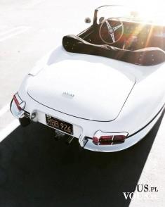 Śliczny oldschoolowy Jaguar, piękny biały Jaguar, Gdzie wypożyczyć samochód biały do ślubu w sta ...
