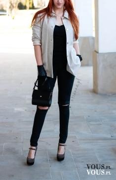 Stylizacja OTIANNA – dziurawe czarne spodnie H&M, czarna mała torebka, marynarka / pł ...