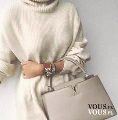 Beżowa stylizacja, beżowa torebka. Jasna stylizacja na zimę. Jak się ubierać w zimowe dni?
