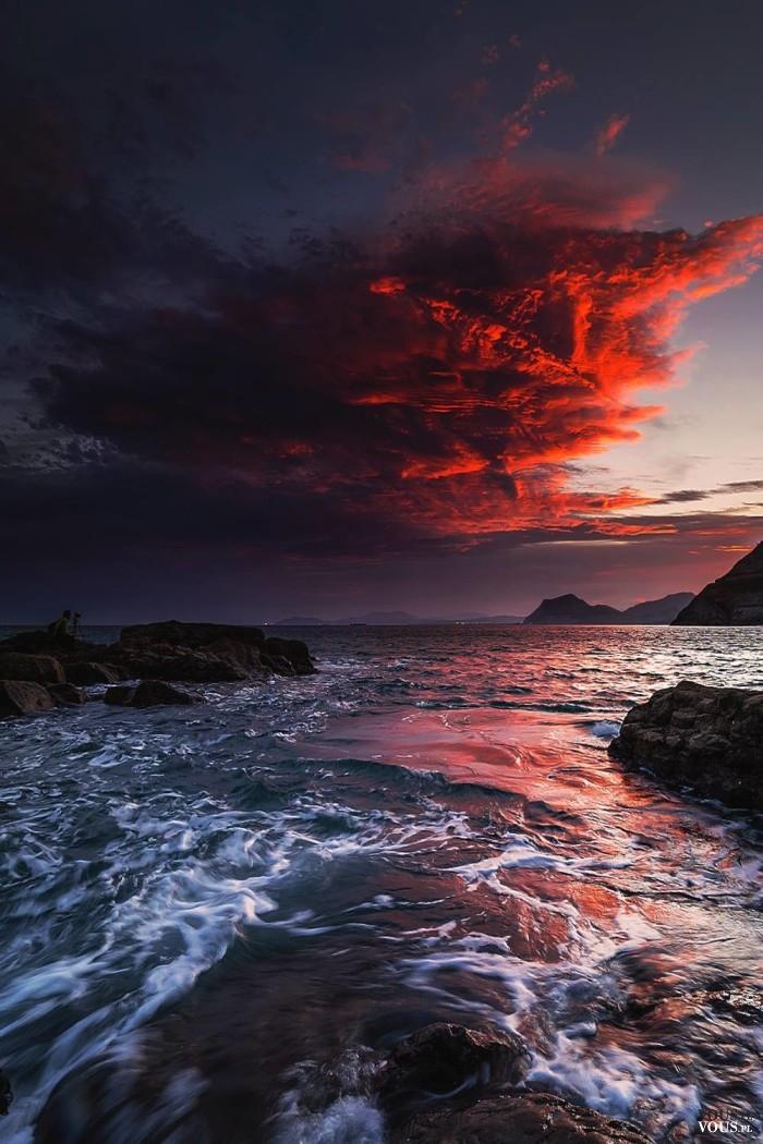 Zachód słońca nad oceanem, piekne fale ⋆ VOUS.pl - photo#16
