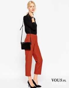Eleganckie ceglaste / czerwone spodnie w kant z Asos.