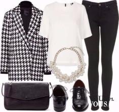 Świetny biało czarny zestaw z płaszczem w pepitkę