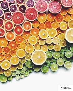 owocowa tęcza, limonki, pomarańcze, grejpfruty, cytrusy