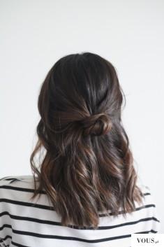 niewinny koczek na pół długich włosach – Low Half Knot: Bring a touch of sophistication to ...