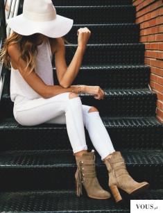 f a s h i o n ♡ przepiękna stylizacja biała z kapeluszem i brązowymi butami