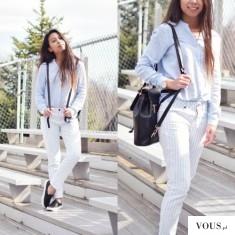 Jasna stylizacja z białymi spodniami na ciepłe wiosenne dni