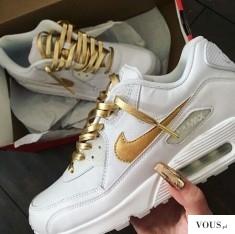 Buty Nike Air MAX 90 leather białe ze złotymi zdobieniami – gold and white