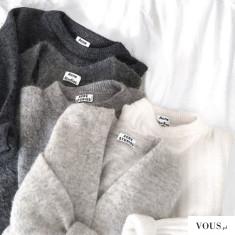 Śliczne sweterki Acne w odcieniach szarości i bieli