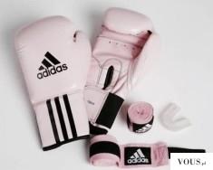 Adidas – różowy zestaw dla fit kobiety, rękawice do bicia, opaska,