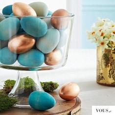 Turkusowe i złote / miedziane wielkanocne jajka