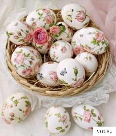 jajka w kwiaty, decoupage