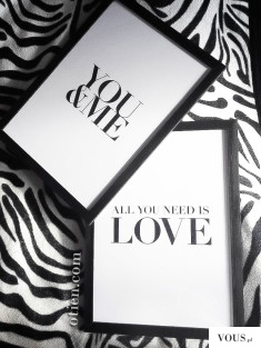 All you need is love – plakat motywacyjny A5/A4/A3 – czarna ramka / You and me &#821 ...