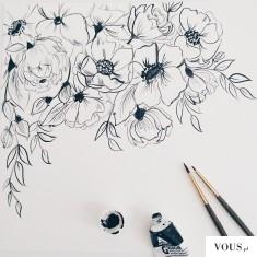 piękny obraz, czarne kwiaty, szkic