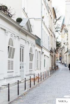 biała uliczka miasta, białe kamienice