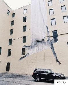 Realistyczny mural. Wspaniałe, ogromne graffiti.